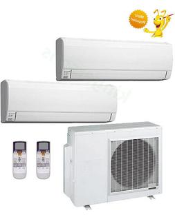 9000+24000 Btu Fujitsu Dual Zone Ductless Wall Mount Heat Pu