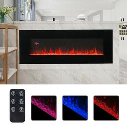 "50"" Wall Mounted Electric Fireplace Heater Multicoloured Fla"