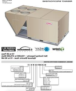 LENNOX 17.5 TON COOL ONLY PACKAGE UNIT 208/230V 3PH AIR COND