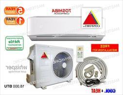18,000 BTU Ductless Air Conditioner, Heat Pump Mini Split 22