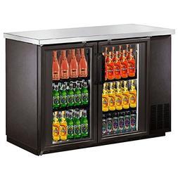 "48"" 2 Door Glass Back Bar Beer Bottle Cooler Refrigerator w/"