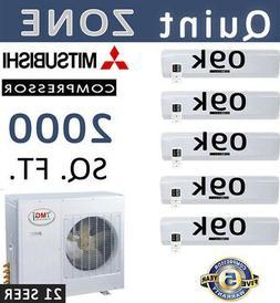 21 SEER 5 Zone Ductless Mini Split Air Conditioner Heat Pump