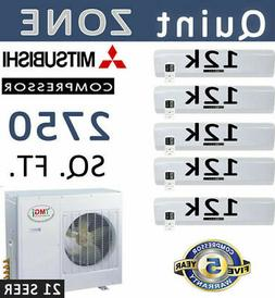21 SEER Quint Zone Ductless Mini Split Air Conditioner Heat