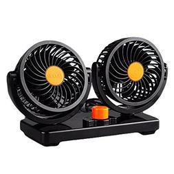 Willcomes 24 Dual Head Car Auto Cooling Air Fan 360 Degree R