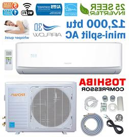 25 Seer 12000 BTU Ductless Mini Split AC Air Conditioner Ene