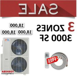 3 Zone Mini Split - 18000 + 18000 + 18000 Pre-Charged Ductle