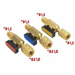 3pcs A/C Straight SHUT-OFF Ball Valve Adapter For R134a R22