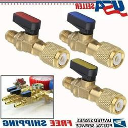 3X HVAC A/C Straight SHUT-OFF Ball Valve Adapter For R134a R