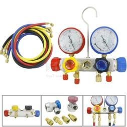 4-Valve R410A R22 R134A Manifold Gauge Set Quick Coupler 5ft
