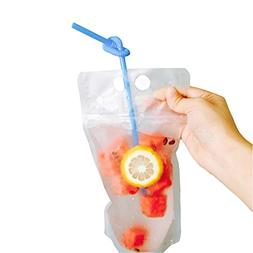 CZRZJ Clear Drink Pouches Heavy Duty Hand-held Reclosable Zi