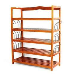 5-Tier Wooden Shoe Rack Shelf Storage Organizer Entryway Hom