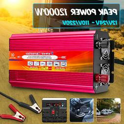 6000/9000/12000W Car Power Inverter 12/24V to 110/220V Pure