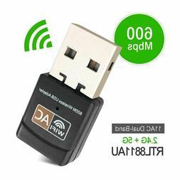 600Mbps Wireless USB Ethernet PC WiFi AC Adapter Lan 802.11