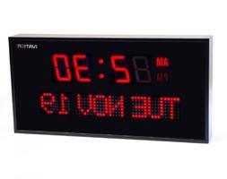 Ivation Big Oversized Digital Blue LED Calendar Clock with D