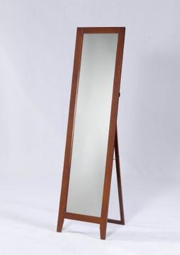 Kings Brand Brown Finish Wood Frame Floor Standing Mirror
