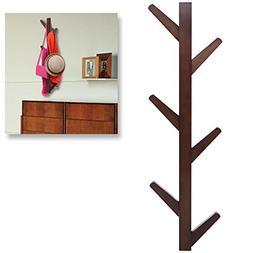 Modern Brown Bamboo Wall Mounted 6 Hook Hanging Storage Orga