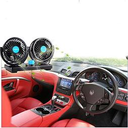 Xcellent Global 12V Car Dual Heads Cooling Fan Rotating Auto