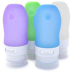 Dot&Dot Travel Bottles, White/Blue/Green/Purple, 1.25 oz , S