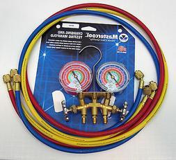 MASTERCOOL 59161 Brass R410A, R22, R404A 2-Way Manifold Gaug