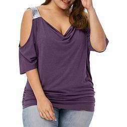 Casual Short Sleeve Shirt,FUNIC Plus Size Women Loose Summer