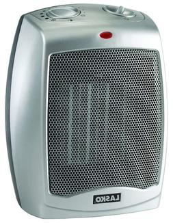 Lasko Silver Ceramic Heater with Adjustable Thermostat