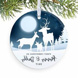 1st Christmas as Mommy & Daddy 2017, New Parents Ornament, D