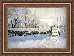 Claude Monet The Magpie Framed Canvas Giclee Print - Finishe