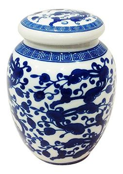 Decorative Blue and White Chinese Herb Floral Pattern Porcel