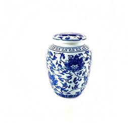 Decorative Traditional Asian Blue and White Lotus Pattern Po