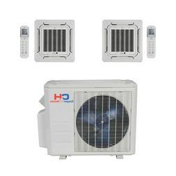 Dual 2 Zone Ceiling Cassette Mini Split Air Conditioner Heat