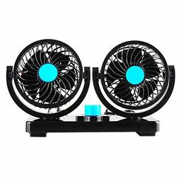 Willcomes 12V Dual Head Car Auto Cooling Air Fan 360 Degree