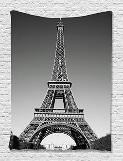 Eiffel Tower Tapestry Wall Decor by Ambesonne, Paris Landmar