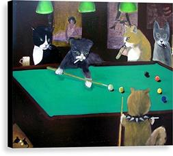 """""""Cats Playing Pool"""" by Gail Eisenfeld, Canvas Print Wall Art"""