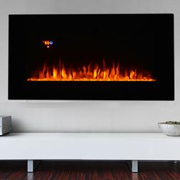 Electric Fireplace Wall Mount Heater flame W/ Adjustable Hea