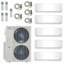 Five 5 Zone Ductless Mini Split Air Conditioner Heat Pump 9K