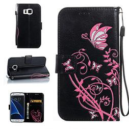 Galaxy S7 Case,DAMONDY 3D Color Flower Shiny Stand Wallet Pu