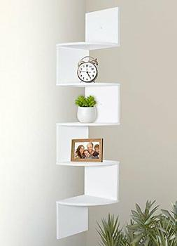 Large Home Decor Corner 5 Tier Wall Mount Wooden Floating Sh