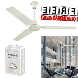 """Industrial Ceiling Fan 56"""" Three Blade Large Ball Hanger 5 S"""