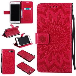iPhone 7 Plus Wallet Case,A-slim Sun Pattern Embossed PU Lea