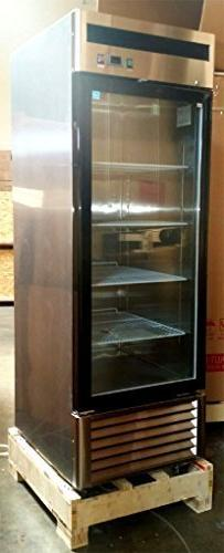 "27"" 1 Door Upright Stainless Steel Glass Window Reach In Fre"