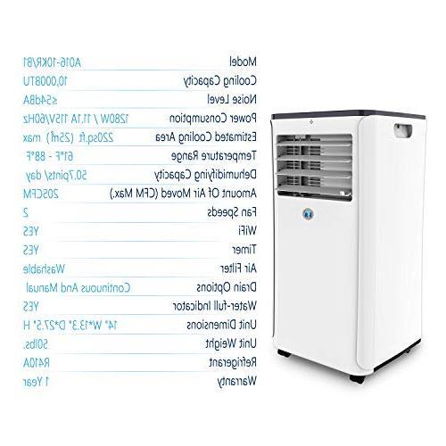 JHS 10,000 BTUs Air WIFI Control App, A016-10KR/B1 Portable AC with Timer, Sleep and