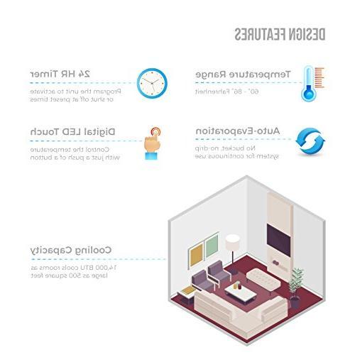 Della 14000 Portable Air Conditioner Cooling Dehumidifier with Control