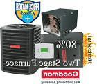 3 Ton Goodman 14 seer 80% 80K btu TWO STAGE HORIZONTAL Gas F