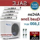 36000 BTU Quad Zone Ductless Mini Split Air Conditioner Heat
