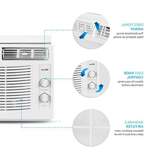 DELLA 5,000 Air Conditioner AC Cool 115-Volt 150 FT Energy Saving with Mechanical Controls