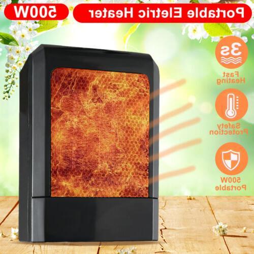 New 500W Mini Black Ceramic Electric Heater Home Office Heat