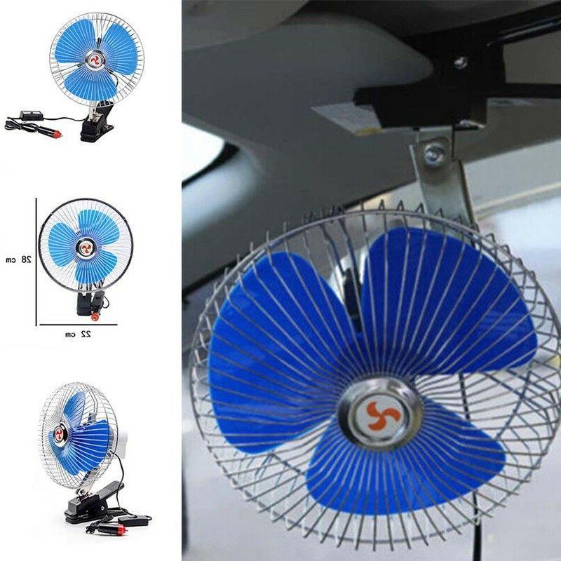 8 Inch 12V Car Vehicle Oscillating Van Fan Clip-on Dashboard