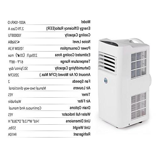 JHS 10,000 BTU Powerful Portable AC Control Air Dehumidifier with Sleep and 2 Fan