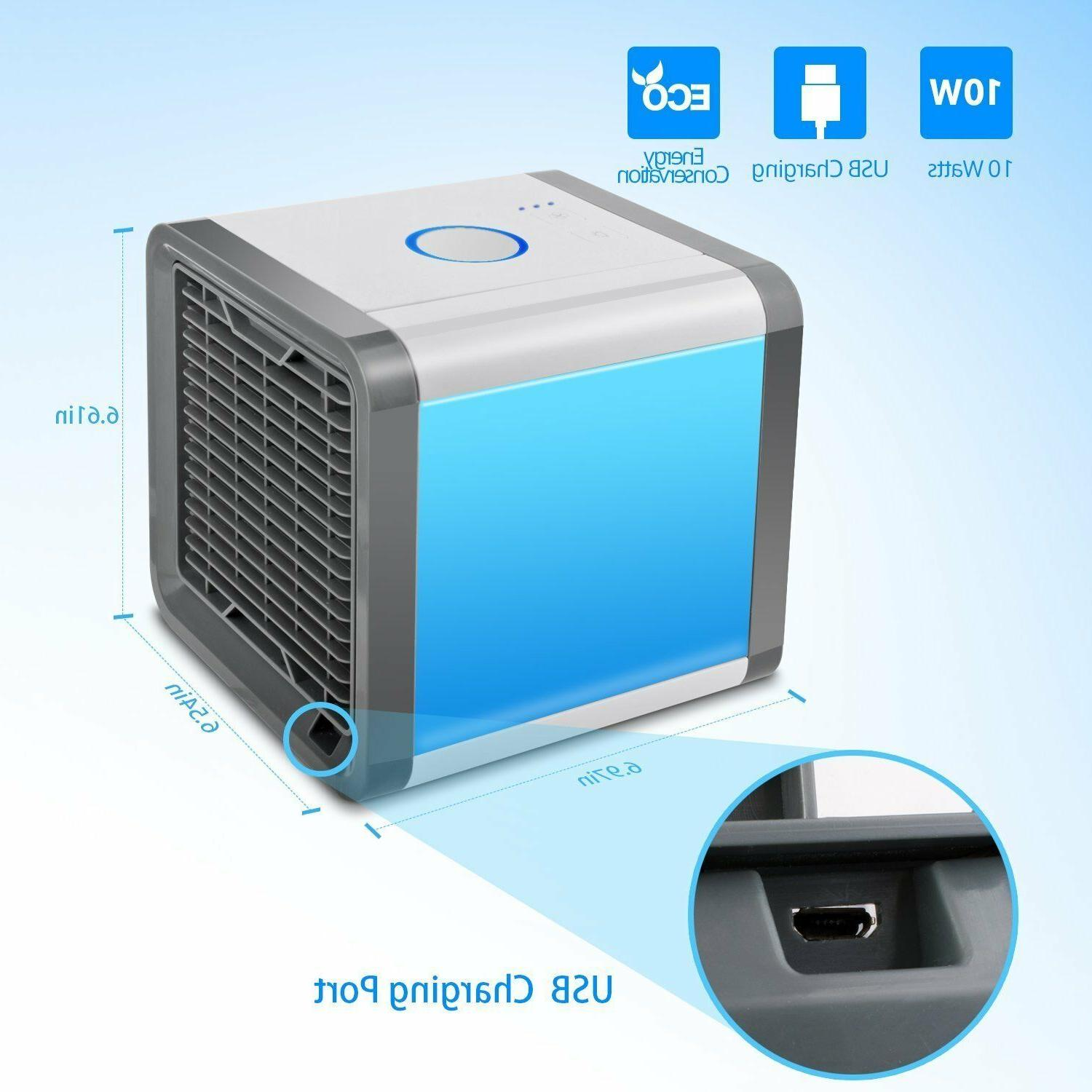 USB Portable Mini Air Conditioner Cool Cooling Fan For Bedroom LED