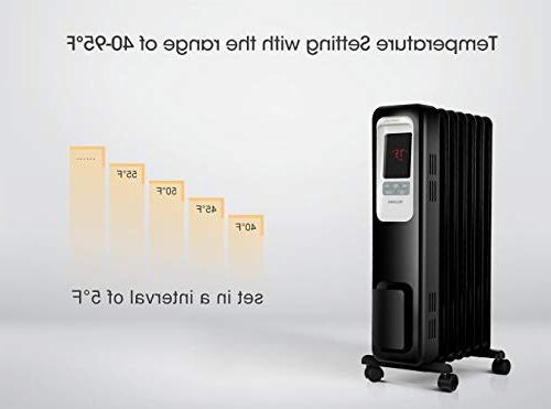 PELONIS 1500W Oil Filled Digital 24-Hour Timer, Safe Heater